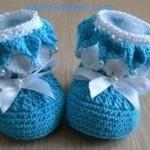 Mavi beyaz örgü bebek patik modelleri