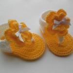 Sarı beyaz örgü sandalet patik modelleri